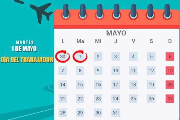 ¿El lunes 30 de abril es feriado?